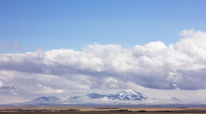 A view of the Sweetgrass Hills.