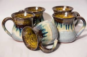 Five Mugs Glazed in Couttsgrass