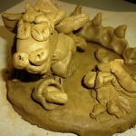 A clay dragon made by a student in New Zealand