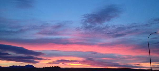 Sunrise in Coutts, blue and pink.